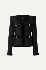 Balmain Velvet-trimmed metallic tweed blazer