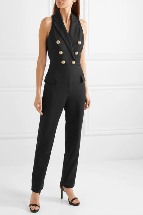 Button-embellished wool-blend jumpsuit