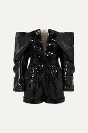 Balmain Off-the-shoulder sequined tulle playsuit