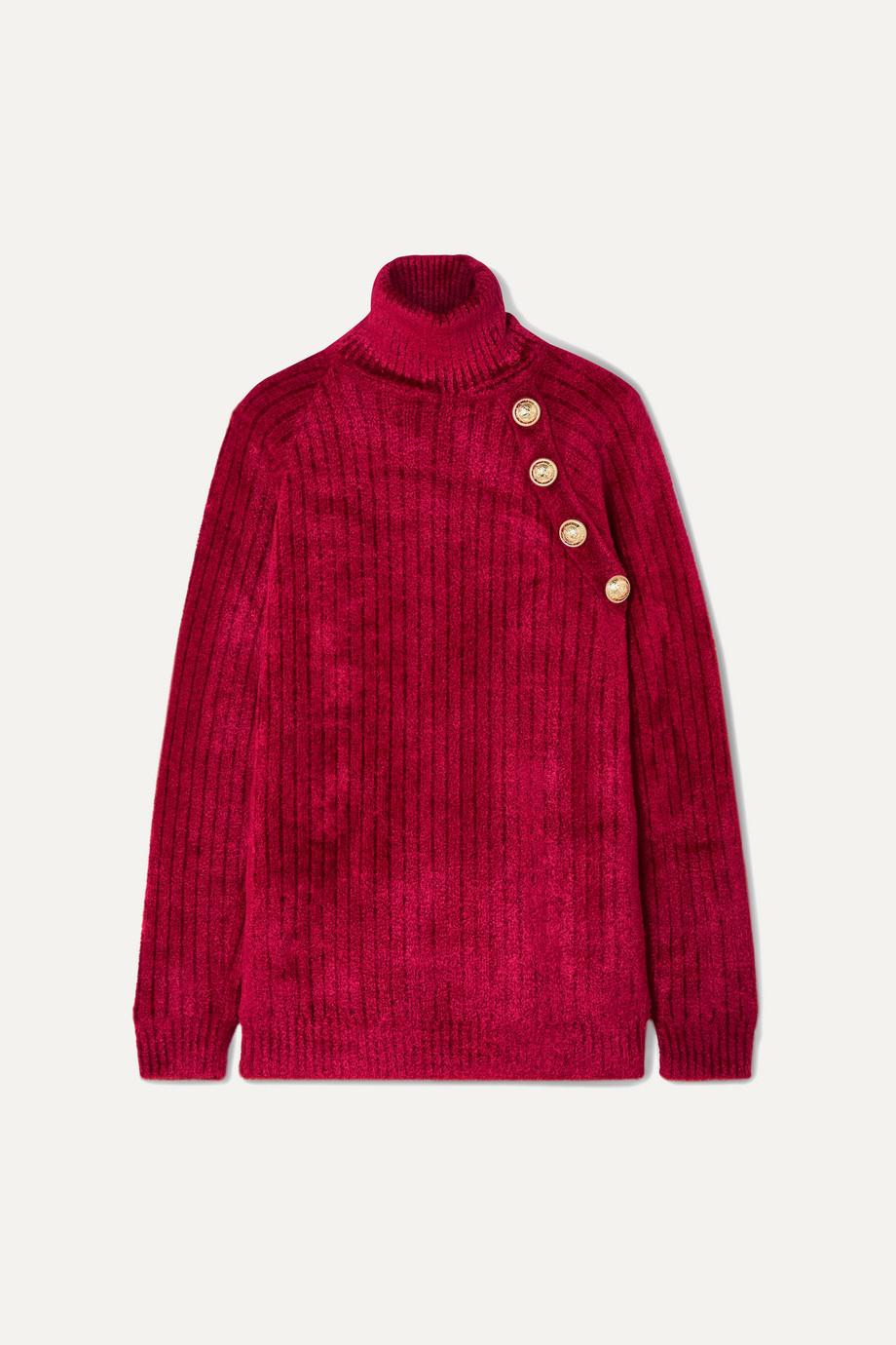 Balmain Button-embellished chenille turtleneck sweater
