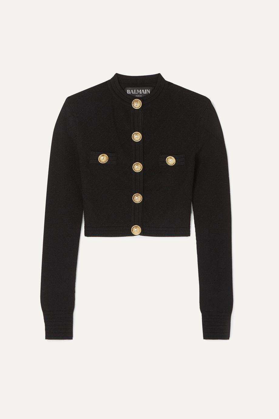 Balmain Button-embellished jacquard-knit cardigan