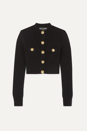 Balmain Button-embellished jacquard-knit cardigan