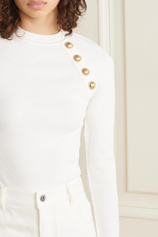 Balmain Pullover aus Jacquard-Strick mit Zierknöpfen