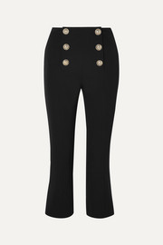 Balmain Cropped button-embellished wool-twill bootcut pants