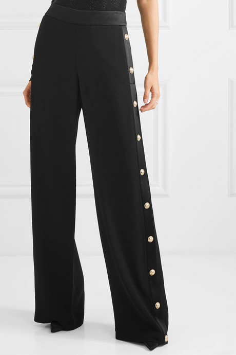 Button-embellished crepe wide-leg track pants