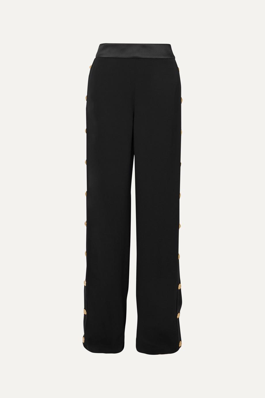 Balmain Pantalon de survêtement large en crêpe à boutons