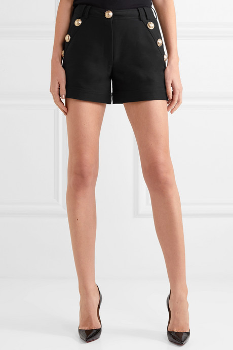 Button-embellished cotton-faille shorts