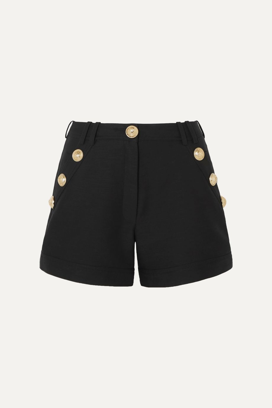 Balmain Button-embellished cotton-faille shorts