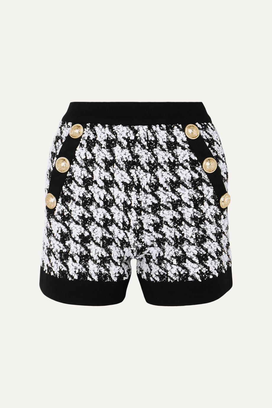 Balmain Button-embellished houndstooth bouclé-tweed shorts