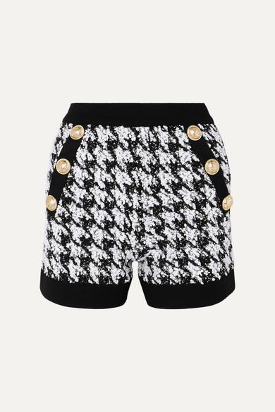 d3ab333a9c Balmain   Button-embellished houndstooth bouclé-tweed shorts   NET-A -PORTER.COM