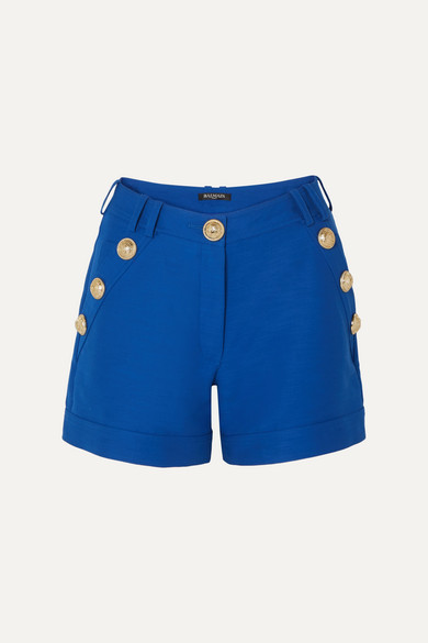 Button Embellished Cotton Shorts by Balmain