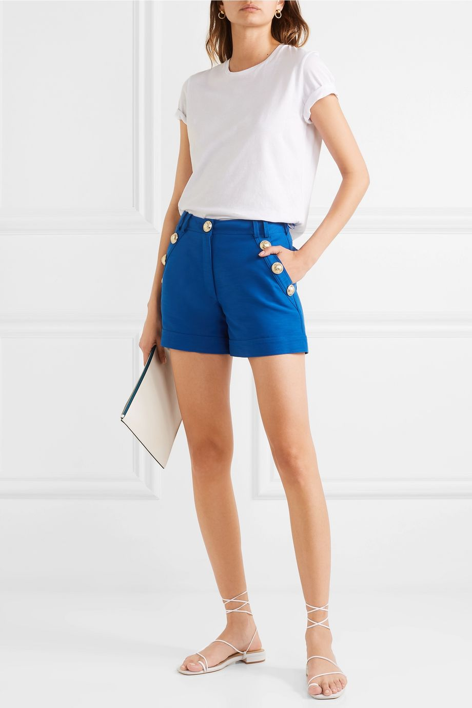 Balmain Button-embellished cotton shorts
