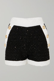 Balmain Embellished tweed shorts