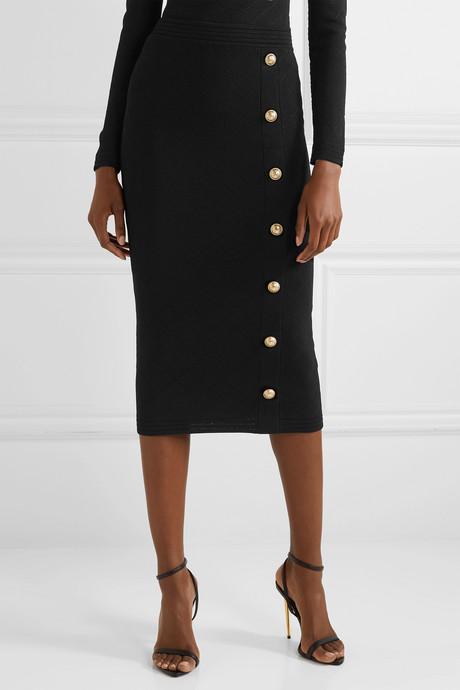 Button-embellished jacquard-knit midi skirt