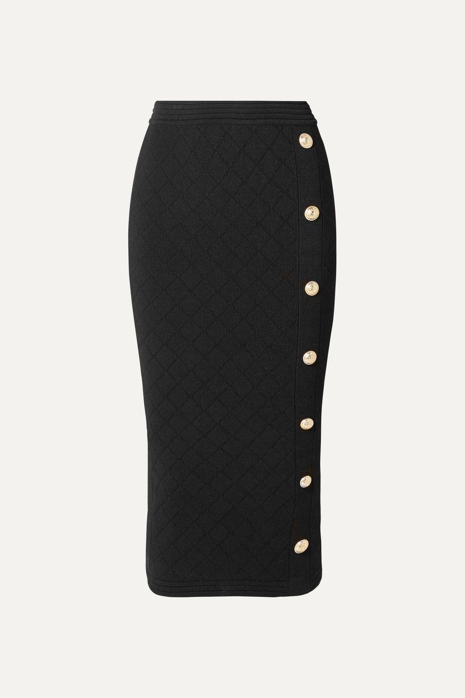 Balmain Button-embellished jacquard-knit midi skirt