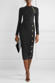 Balmain Button-embellished jacquard-knit midi skirt