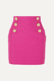 Balmain Button-embellished cotton mini skirt