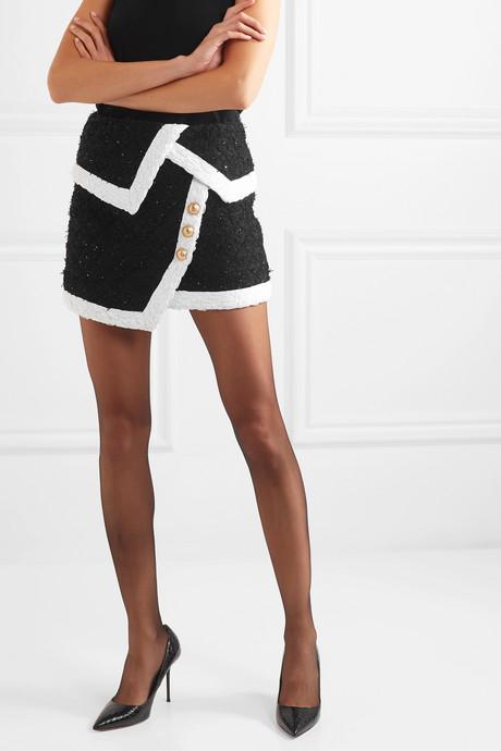 Wrap-effect button-embellished metallic tweed mini skirt