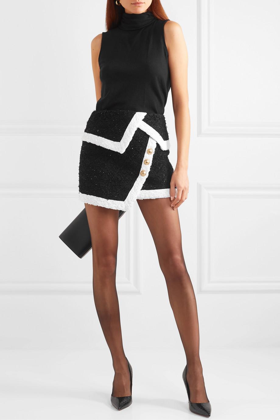 Balmain Wrap-effect button-embellished metallic tweed mini skirt