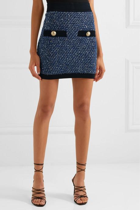 Button-embellished metallic tweed mini skirt
