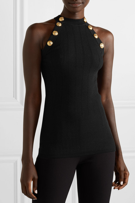 Button-embellished ribbed wool-blend tank
