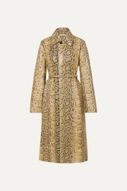 Bottega Veneta Trench-coat en cuir effet serpent