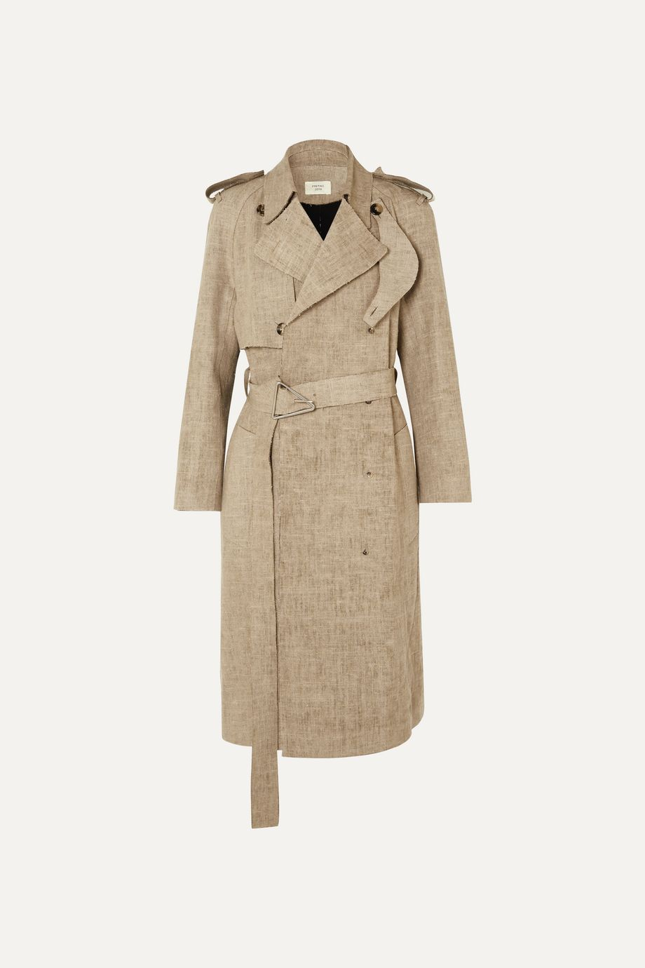 Bottega Veneta Frayed belted linen trench coat