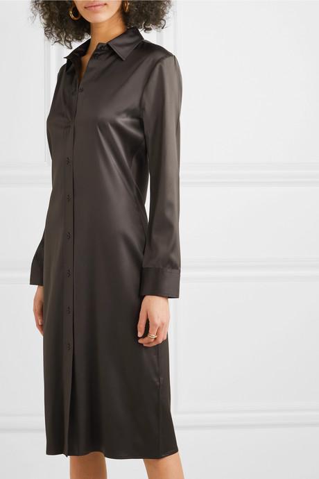 Stretch-silk satin shirt dress