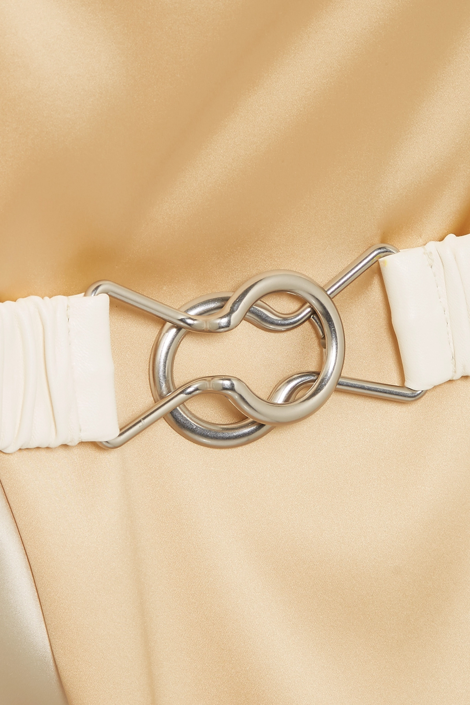Bottega Veneta Robe portefeuille en satin de soie stretch bicolore à ceinture