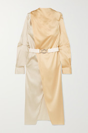 Bottega Veneta Belted two-tone stretch-silk satin wrap dress
