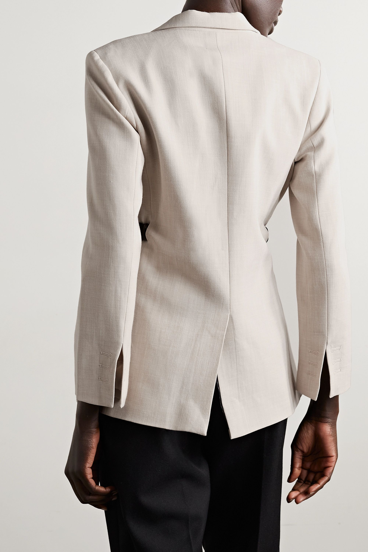 Bottega Veneta Blazer aus Webstoff mit Lederbesatz