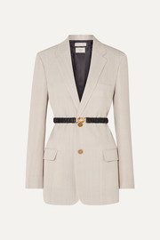 Bottega Veneta Leather-trimmed woven blazer