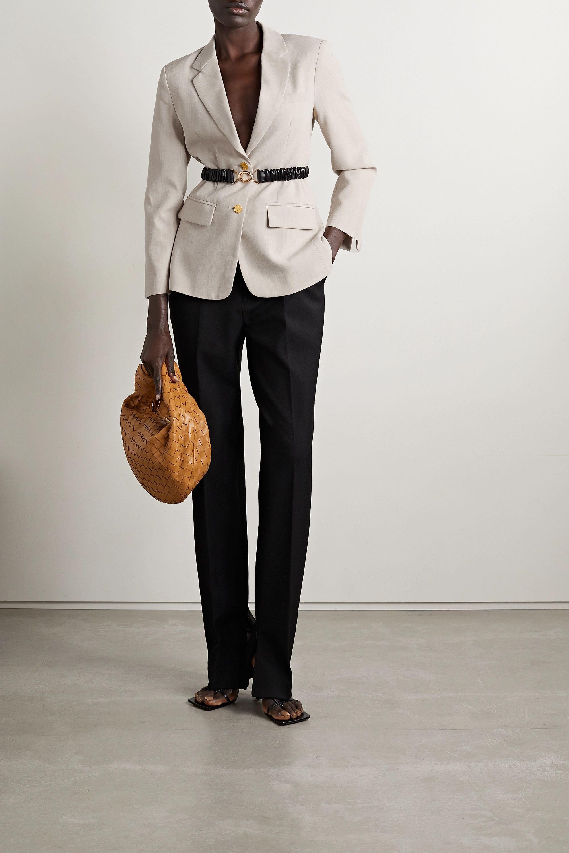 Bottega Veneta Leather-trimmed woven blazer