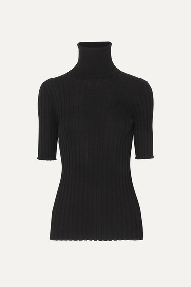 Ribbed Merino Wool Blend Turtleneck Sweater by Bottega Veneta
