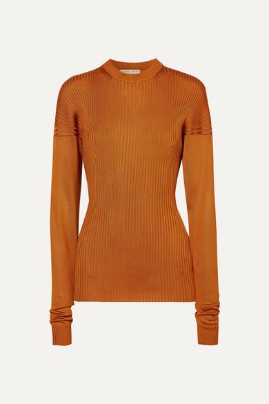 BOTTEGA VENETA | Bottega Veneta - Paneled Ribbed Silk Sweater - Orange | Goxip