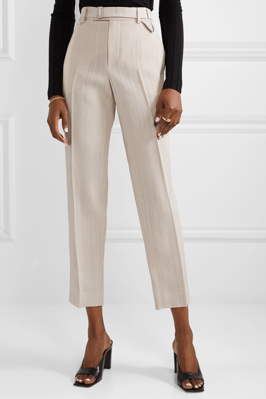 Bottega Veneta Belted cropped woven straight-leg pants