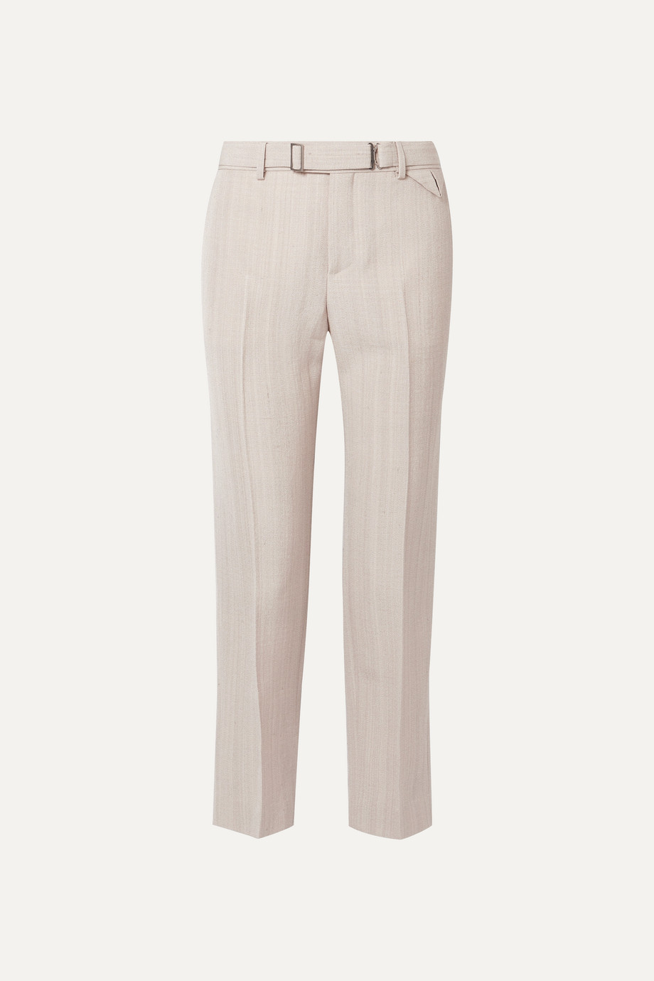 Bottega Veneta Belted cropped woven straight-leg pants
