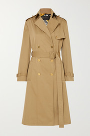 Versace Paneled double-breasted gabardine trench coat