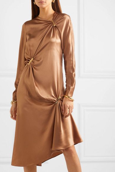Versace   Embellished draped silk satin midi dress   NET A