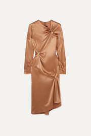 Embellished draped silk-satin midi dress