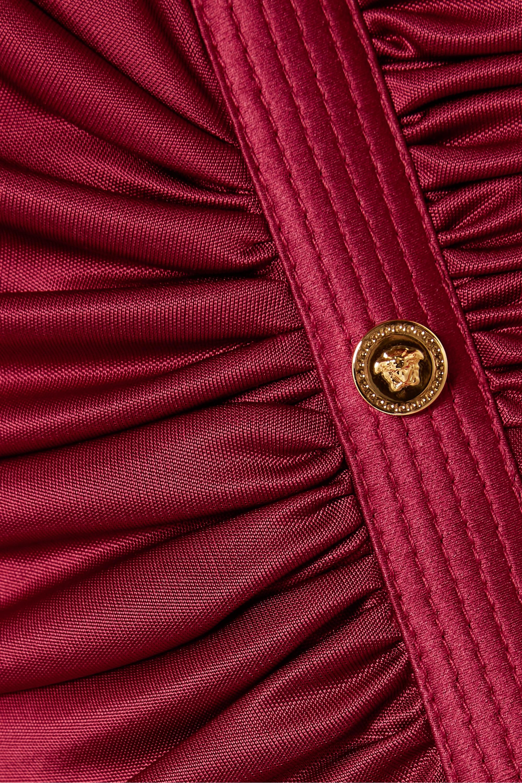 Versace Geraffte Robe aus Satin mit Zierknöpfen und Cut-outs