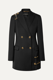 Versace Double-breasted deconstructed embellished tulle-trimmed wool blazer