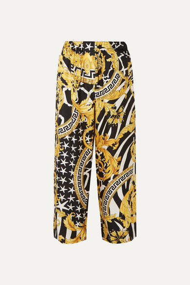 Versace Baroque-Print High-Rise Wide Silk Trousers In Yellow