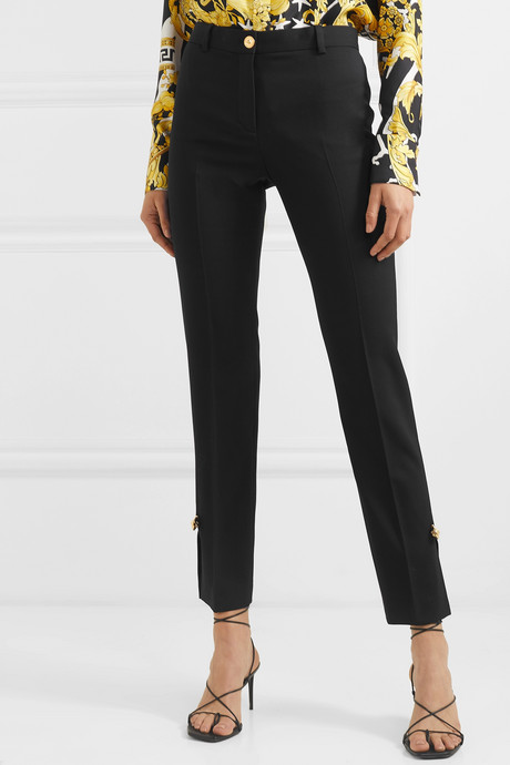 Embellished wool-blend straight-leg pants