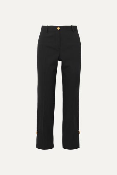 Versace Embellished Wool-Blend Straight-Leg Pants In Black