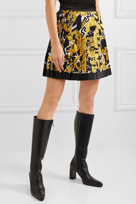 Pleated printed silk-twill mini skirt