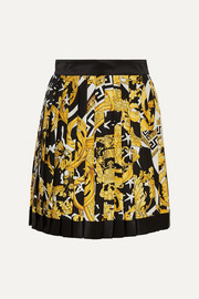 Versace Pleated printed silk-twill mini skirt
