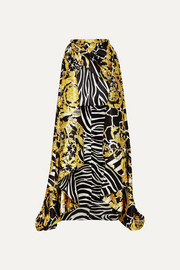 Versace Asymmetric printed satin skirt