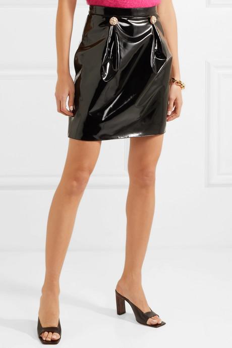 Embellished PVC mini skirt