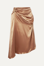 Versace Embellished asymmetric silk-charmeuse skirt